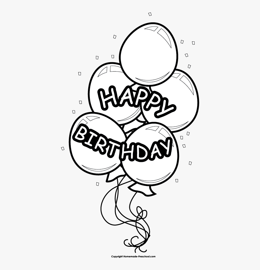 Free Happy Birthday Clipart Happy Birthday Balloon Clipart Black And White Hd Png Download Kindpng