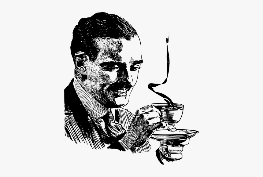 Drinking Coffee Vector Drawing - Mustache Man With Coffee, HD Png Download, Free Download