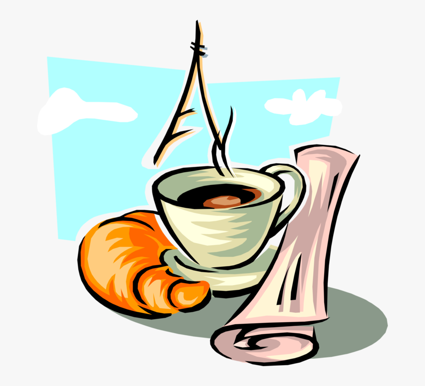 Vector Illustration Of Morning Cup Of Coffee, Viennoiserie-pastry - Paris Coffee Clip Art, HD Png Download, Free Download