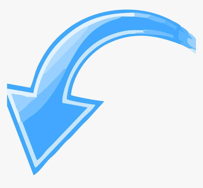 Blue Curved Arrow Pointing Down Left - Arrow Pointing Down Left, HD Png Download, Free Download