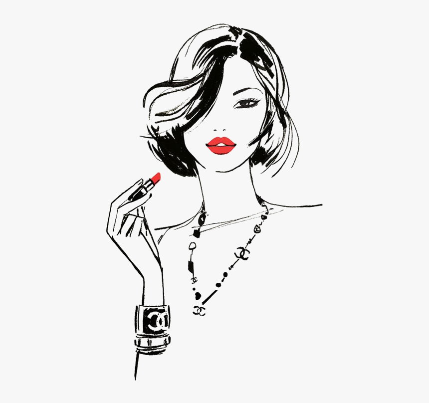 Girl With Red Lipstick Drawing , Transparent Cartoons - Girl With Lipstick Illustration, HD Png Download, Free Download