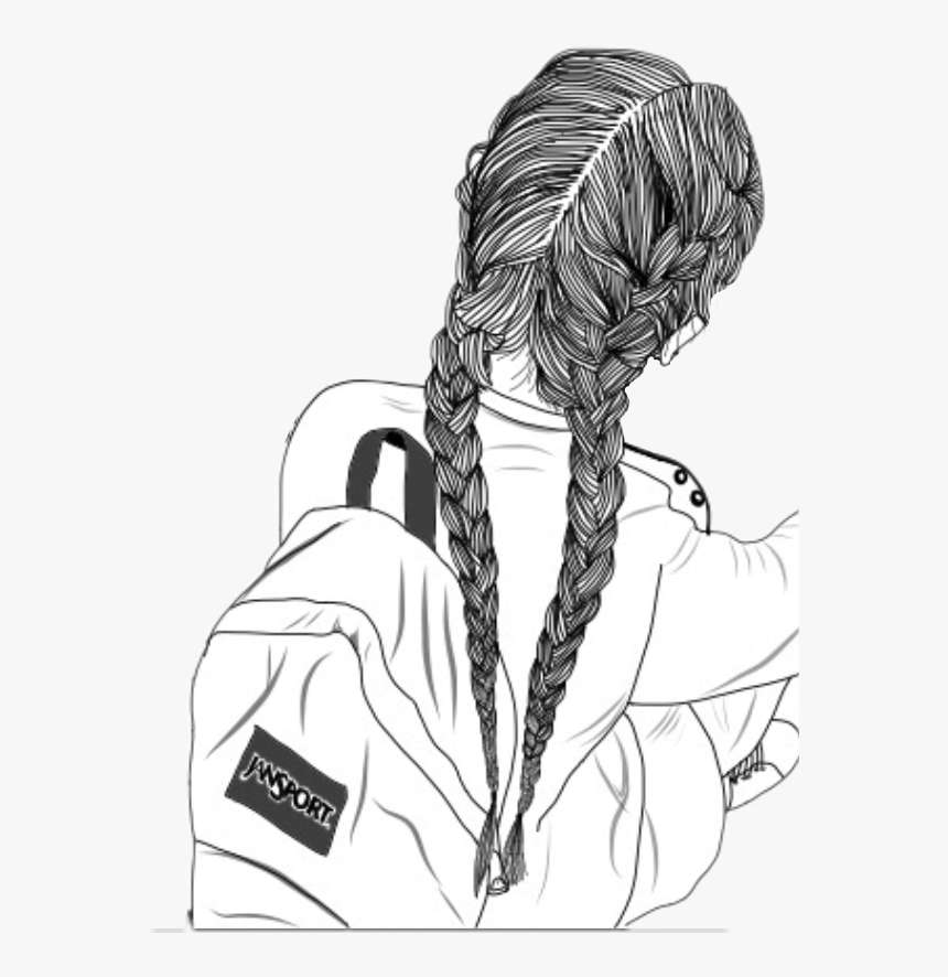 Transparent Girl With Backpack Clipart - Girl Drawing Braids, HD Png Download, Free Download
