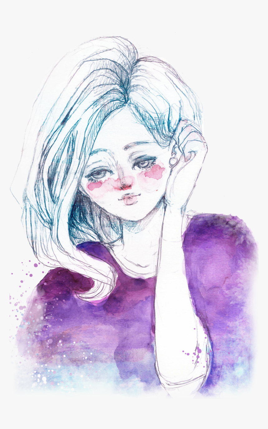 Transparent Watercolor Girl Drawing , Png Download - Sketch, Png Download, Free Download