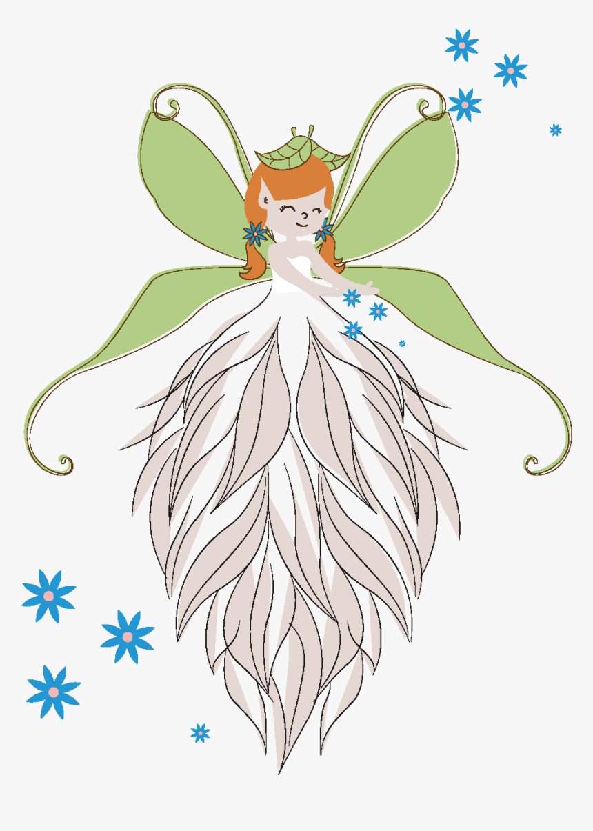 Vector Hand Drawn Cartoon Butterfly Girl - Illustration, HD Png Download, Free Download