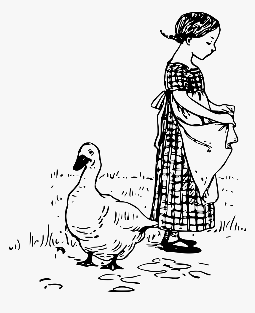 Duck And A Girl Clip Arts - Girl With Ducklings Drawing, HD Png Download, Free Download