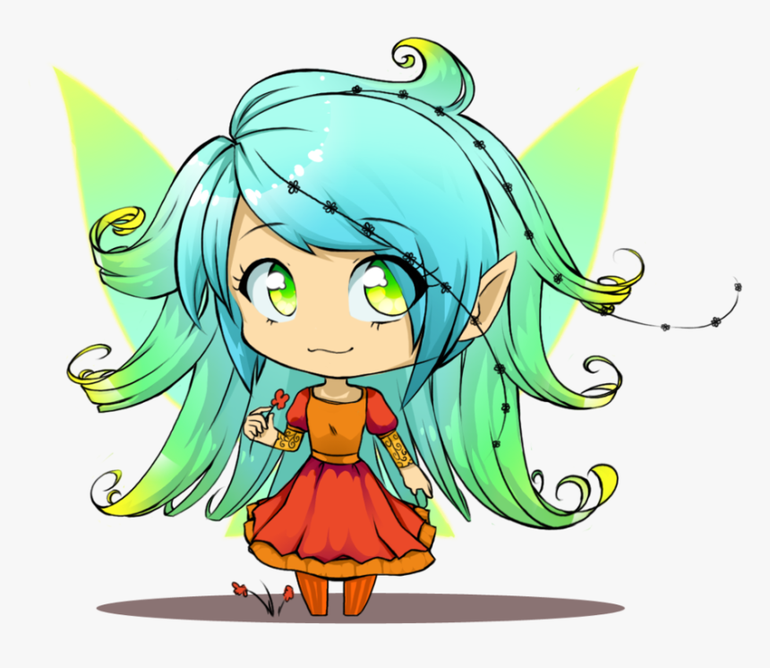Anime Girl With Angel Wings Drawing Download Chibi Fairy Hd Png Download Kindpng