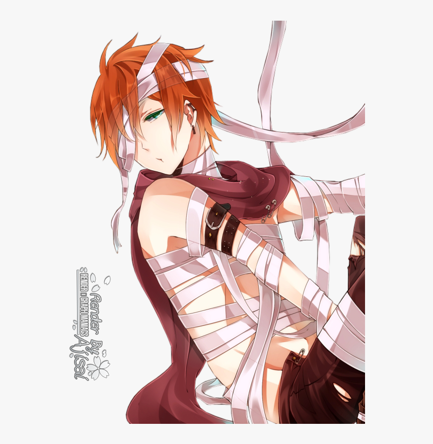 Red Hair Green Eyes Anime Boy, HD Png Download, Free Download