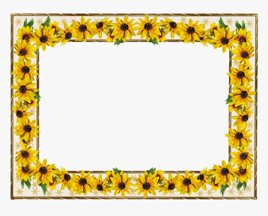Marco Oro Borde Flores De Sol Gambar Bingkai Bunga Matahari Hd Png Download Kindpng
