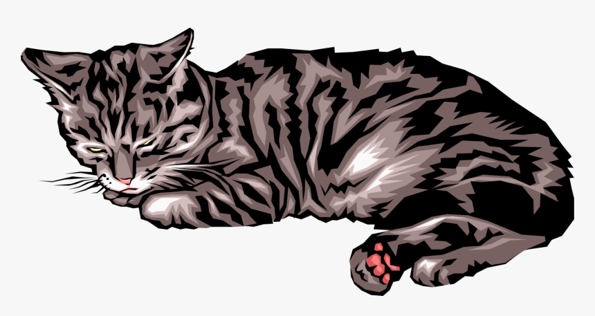 Vector Illustration Of Small Carnivore Domesticated - Vector Art Sleeping Cat, HD Png Download, Free Download