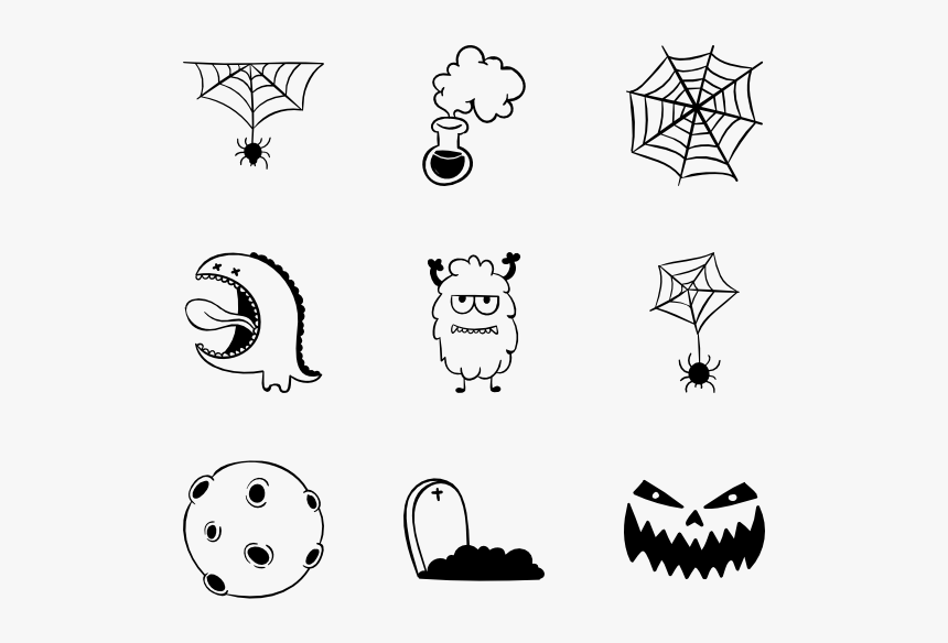 Handmade Halloween Icons - Drawing Halloween Icon, HD Png Download, Free Download