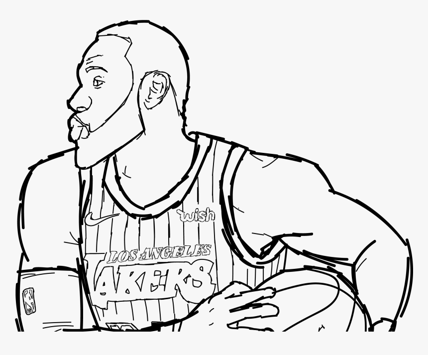 Lebron James Black And White Clipart Lakers Hd Png Download Kindpng