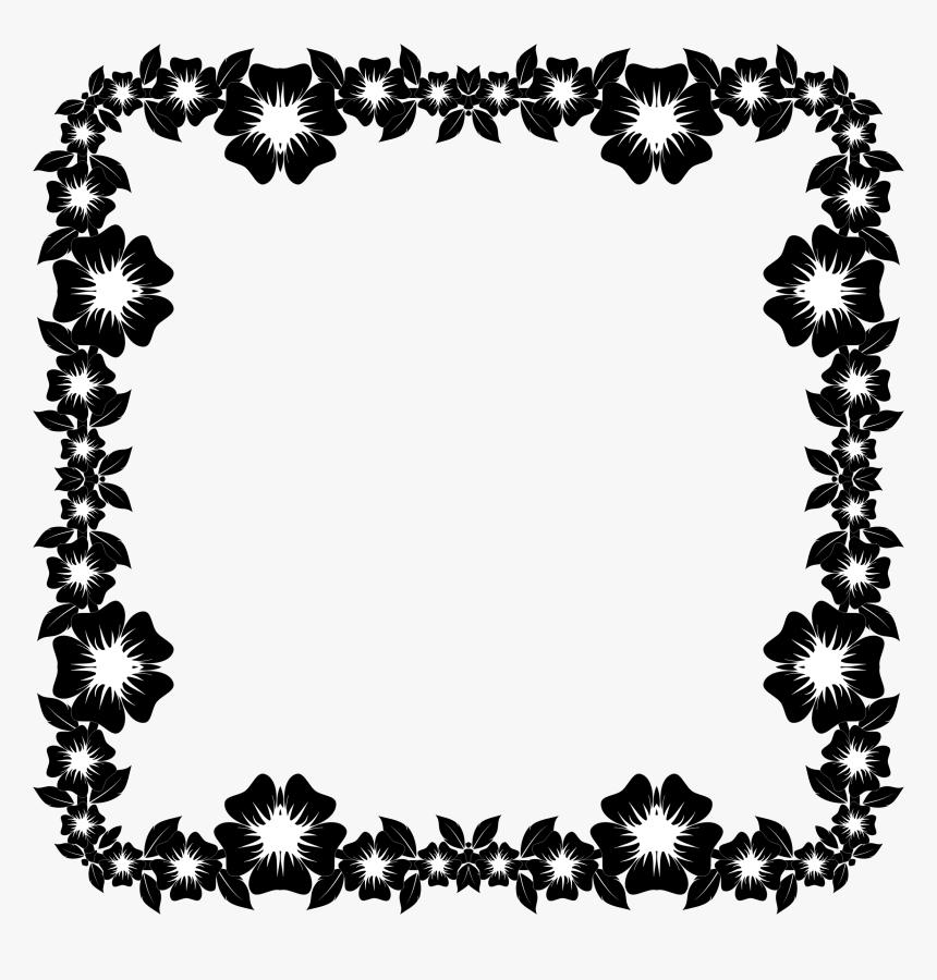 Floral Frame Png - Flower Black And White Border Design, Transparent Png, Free Download