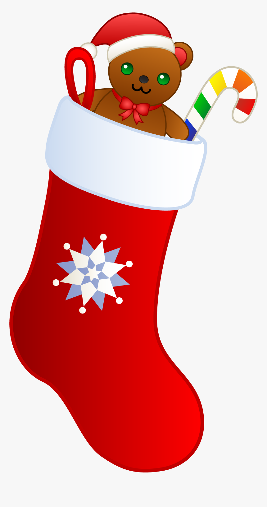 Christmas Stocking With Teddy - Transparent Clipart Christmas Stocking, HD Png Download, Free Download