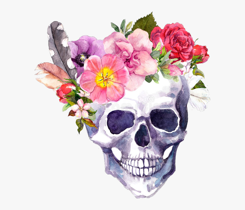 Transparent Flores Png Tumblr - Skull With Flower Crown, Png Download, Free Download