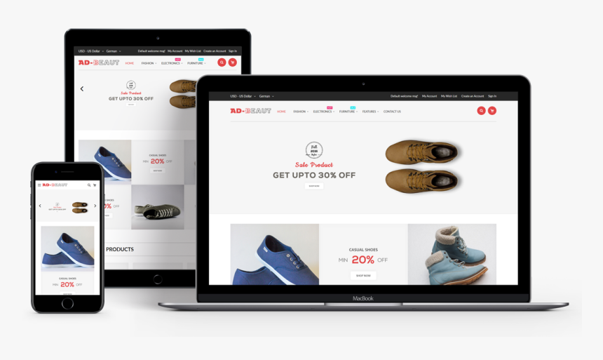 Ad-beaut Multipurpose Responsive Magento 2 Theme - Magento 2 Responsive Template, HD Png Download, Free Download