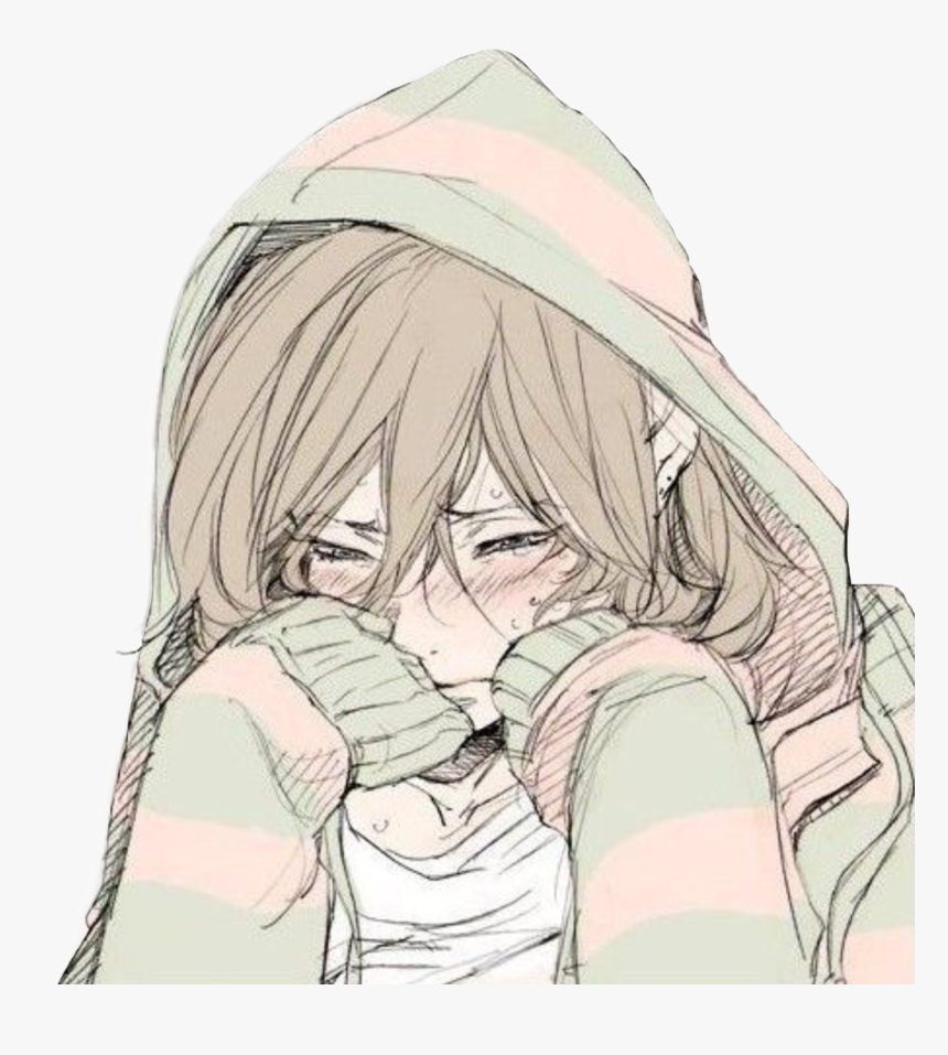 Depressed Sad Anime Girl Crying, HD Png Download - kindpng