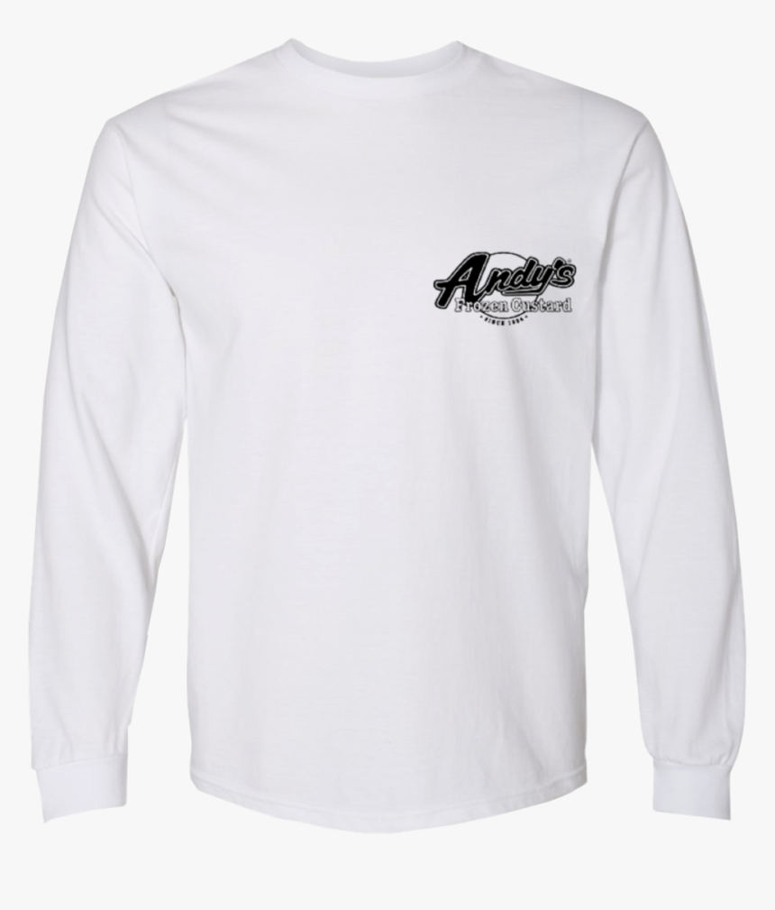 White Black Long Sleeve Front - Long-sleeved T-shirt, HD Png Download, Free Download