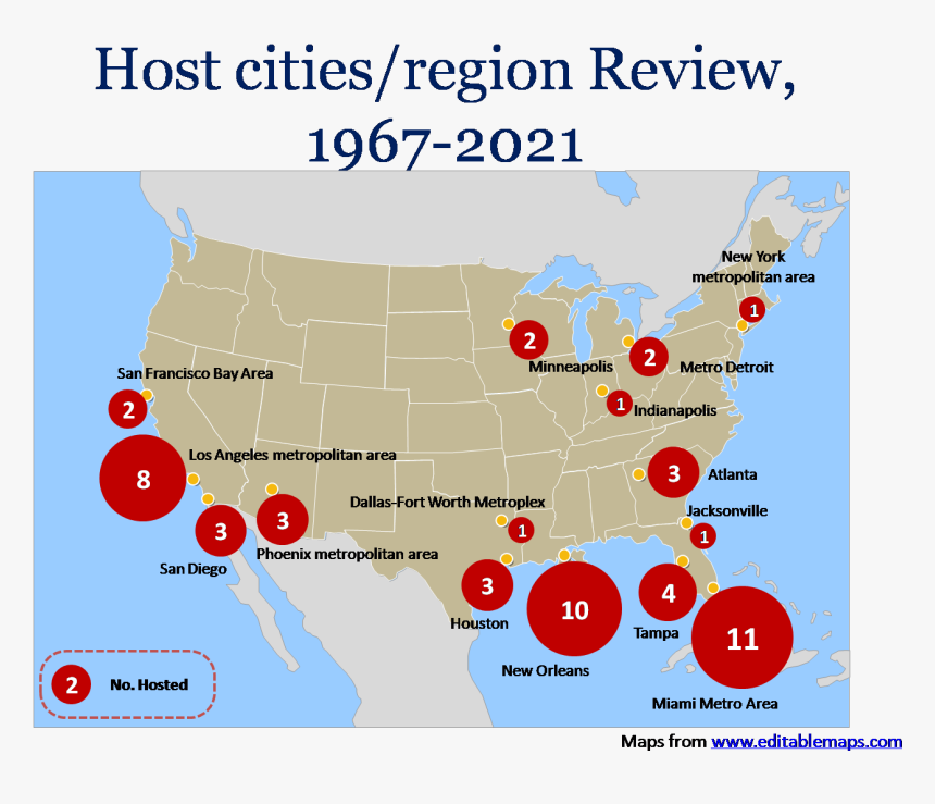 Uper Bowl Host Cities/region Review From 1967 To 2021 - Regular, HD Png Download, Free Download