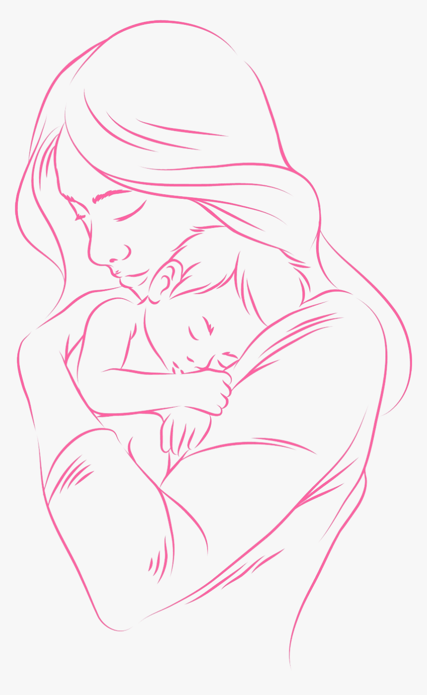 Beautiful Mother And Baby Drawing Hd Png Download Kindpng