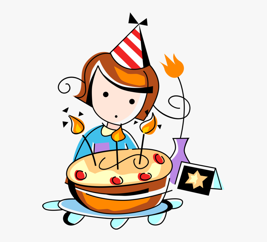 Transparent Birthday Girl Clipart - Girl With Birthday Cake Clipart, HD Png Download, Free Download