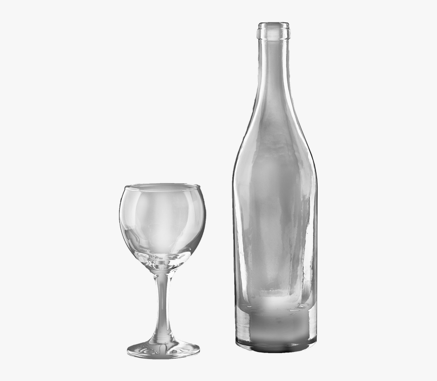 Wine Bottle And Glass Transparent, Isolated, Drink - Glass Bottle, HD Png Download, Free Download