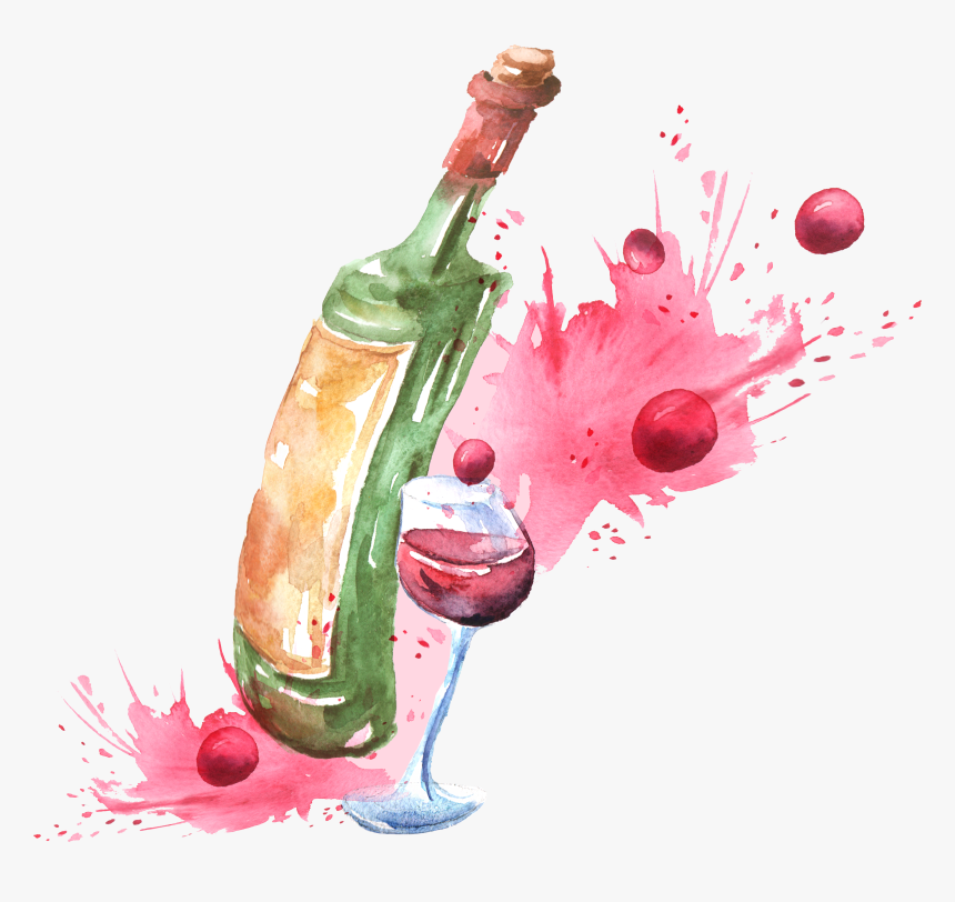 Transparent Bottle Of Wine Clipart - Wine Glass Watercolor Png, Png Download, Free Download