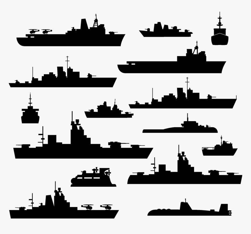 Warship Maritime Transport Stock Illustration - Warships Silhouettes, HD Png Download, Free Download