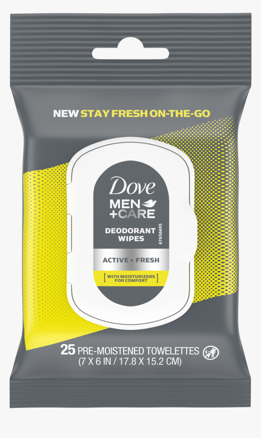 Dove Men Care Deodorant Wipes Active Fresh 25ct Front - Dove Men Deodorant Wipes, HD Png Download, Free Download