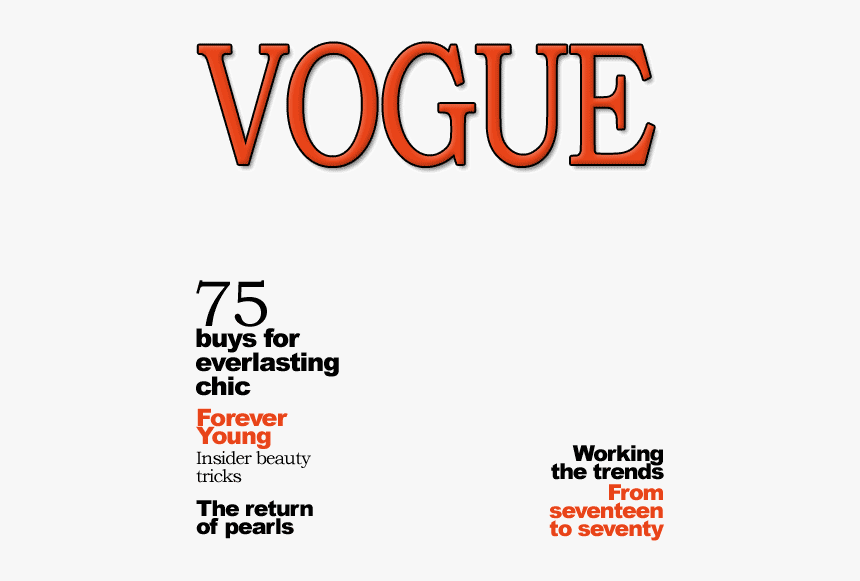 Blank Vogue Magazine Cover - Vogue Mag Cover Template, HD Png Download, Free Download