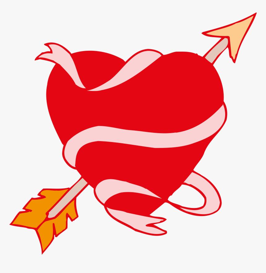 Love Drawing Ribbon Clip Art Cupid Transprent - Love Heart Arrow, HD Png Download, Free Download