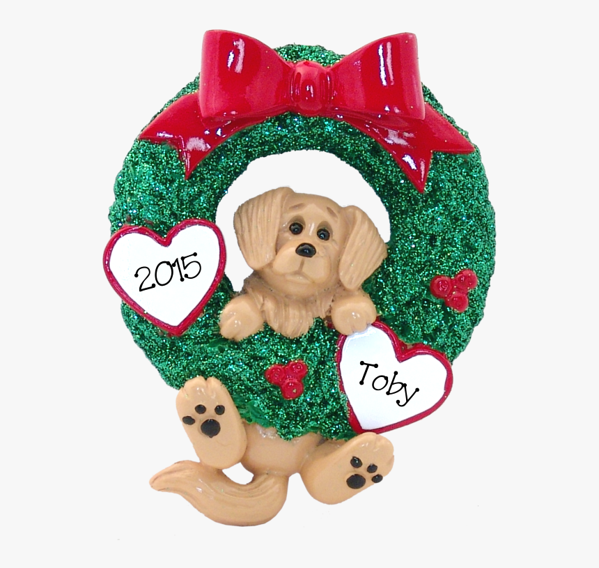 Golden Retriever Hanging On To Wreath Christmas Ornament - Golden Retriever, HD Png Download, Free Download