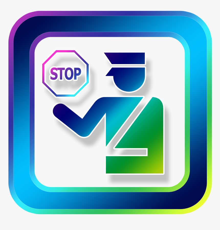 Icon, Stop, Cop, Id, Id Card Control, Entry, Customs - Symbol For Immigration, HD Png Download, Free Download