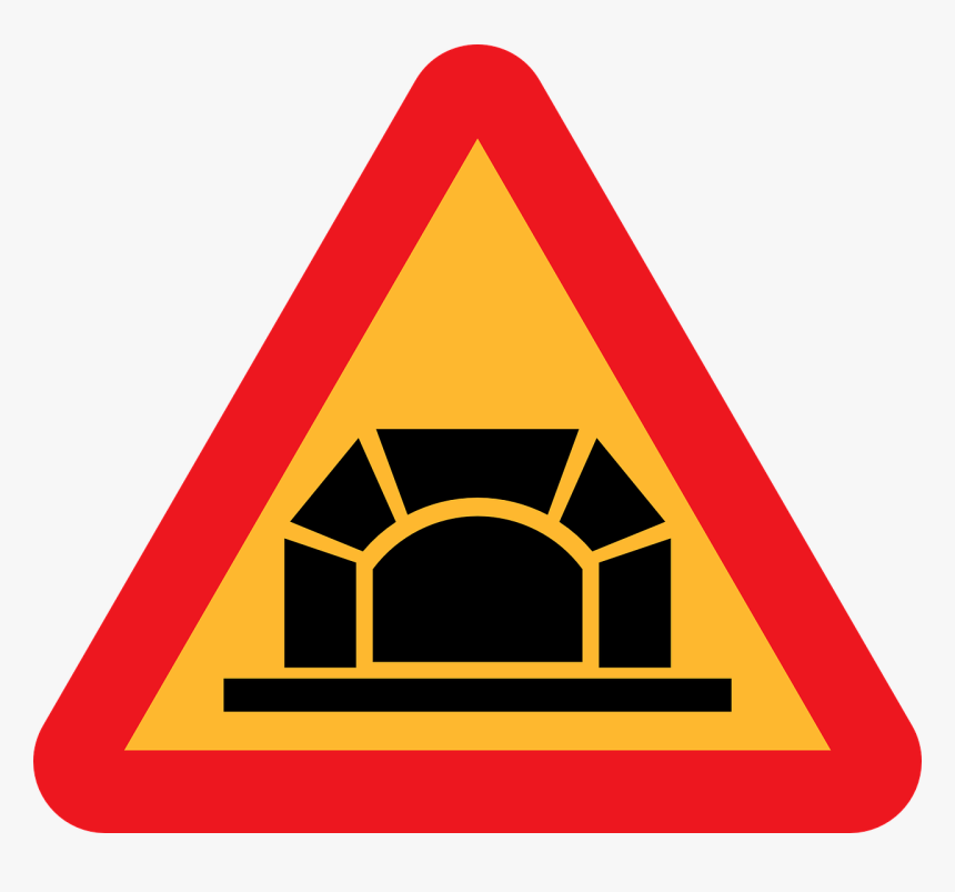 Traffic Sign Tunnel Warning Sign Road - Tunnel Road Sign, HD Png Download, Free Download