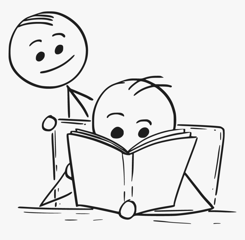 Transparent People Reading Png - Reading A Book Drawing, Png Download, Free Download