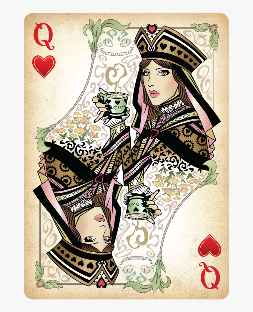 The Queen Of Hearts Playing Card - Queen Of Hearts Card Design, HD Png Download, Free Download
