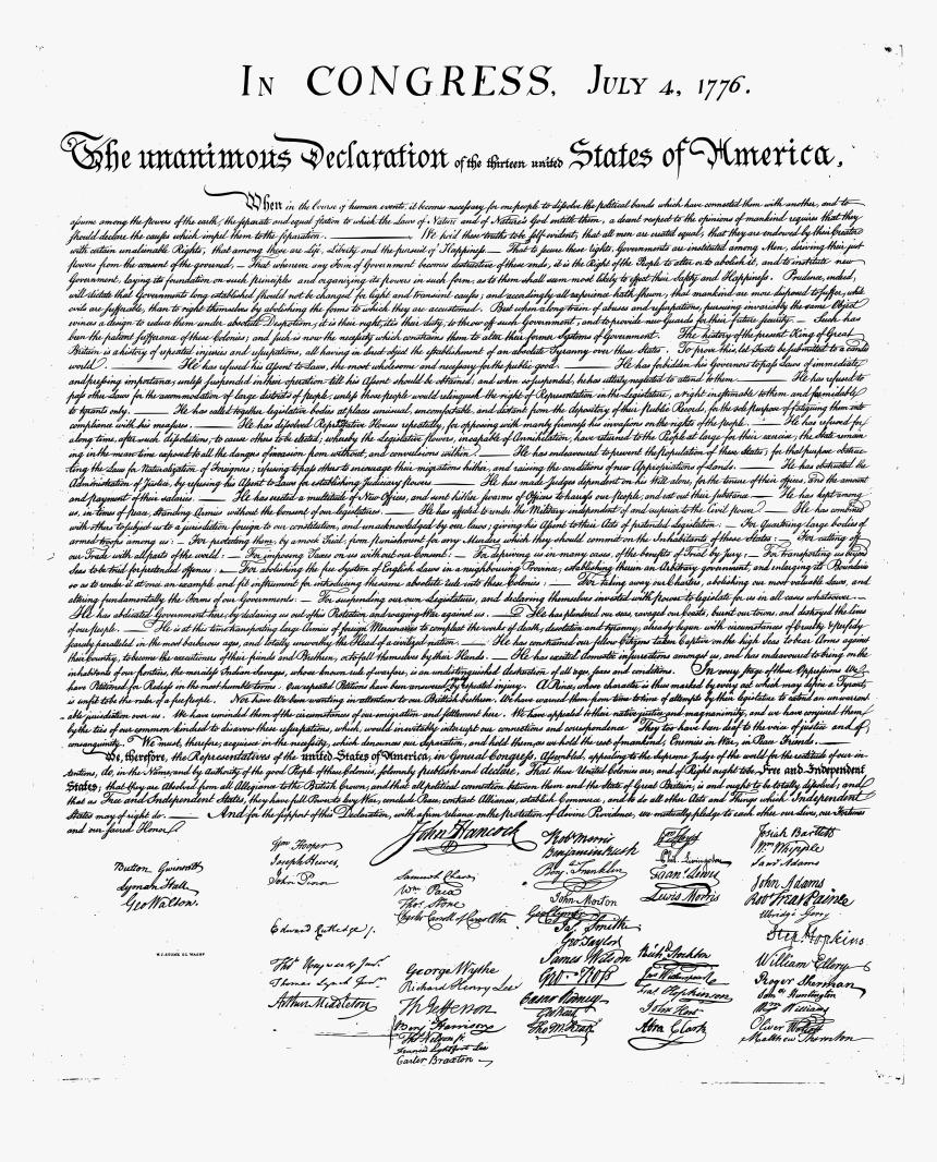 Declaration Of Independence Transparent, HD Png Download, Free Download