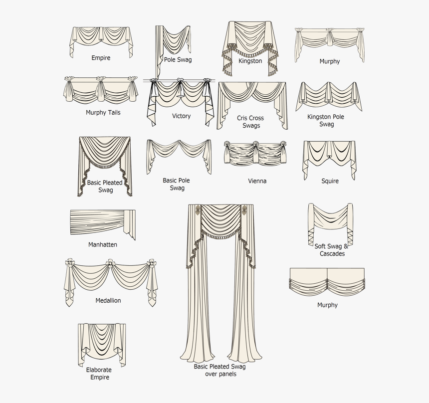 Ideas For Swag Window Treatments - Names Of Types Of Curtains, HD Png Download, Free Download