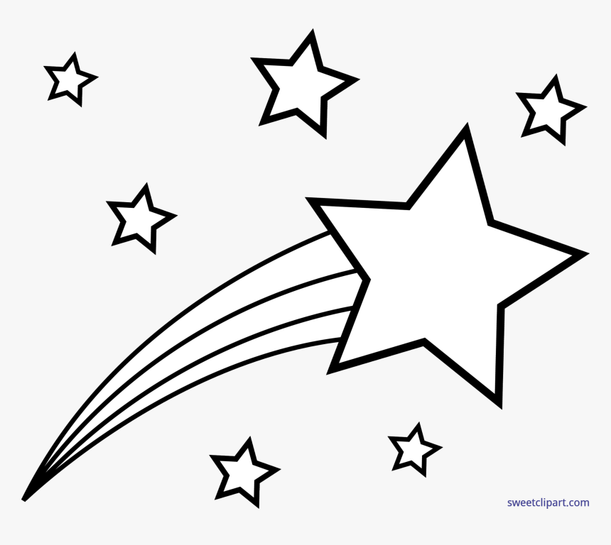 Clip Art Shooting Star Text Symbol - Shooting Star Clipart Black And White, HD Png Download, Free Download