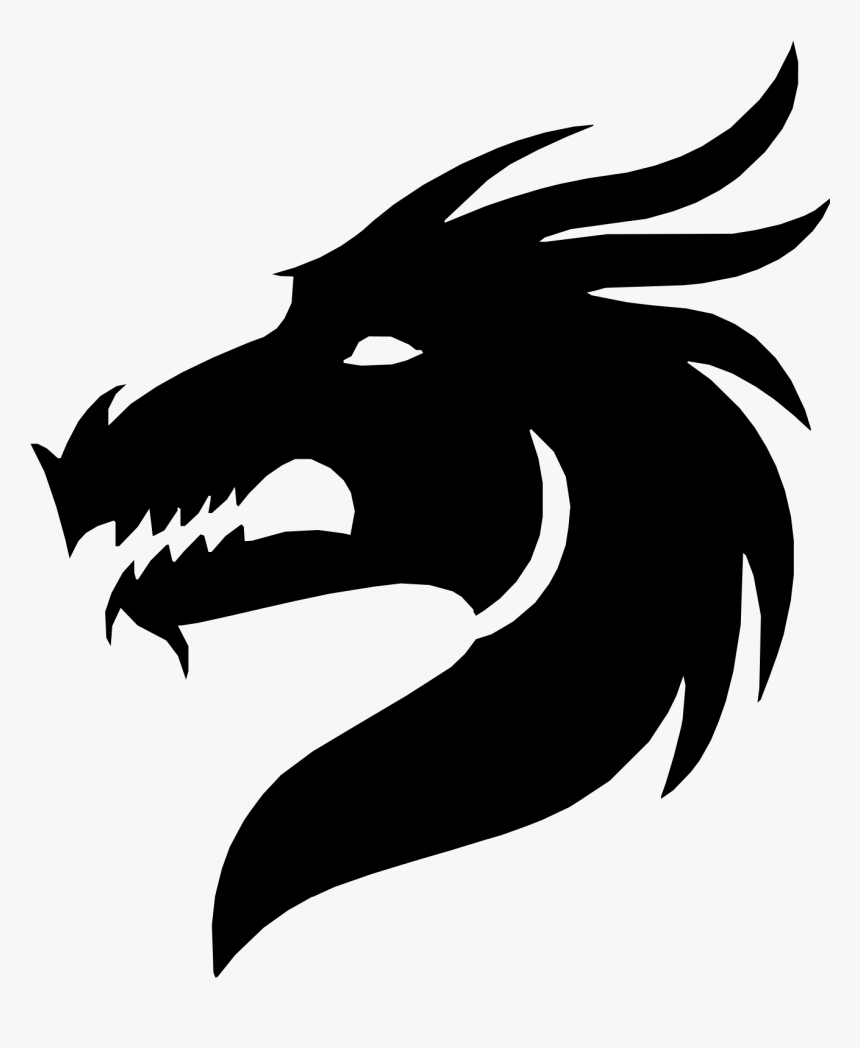Transparent Medieval Dragon Clipart Black And White - Chinese Dragon Head Silhouette, HD Png Download, Free Download