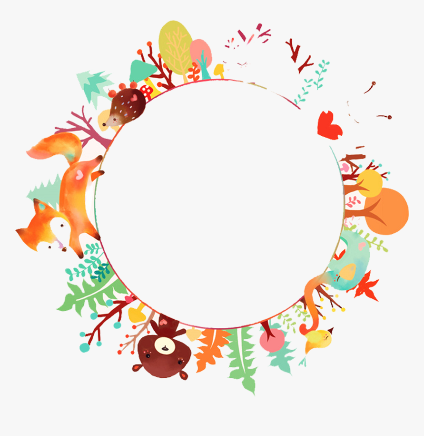 #fox #bear #forest #autumn #fall #leaves #flowers #wreath - Watercolor Animals Png, Transparent Png, Free Download