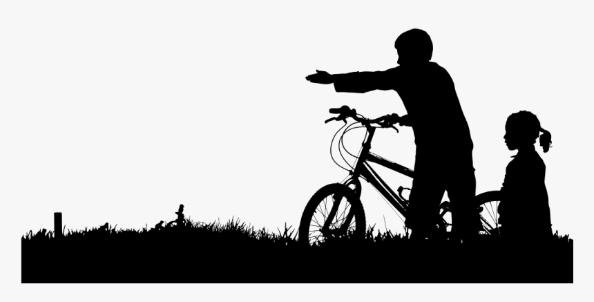 Transparent Kids Playing Silhouette Png - Girl Black Bike Sticker, Png Download, Free Download
