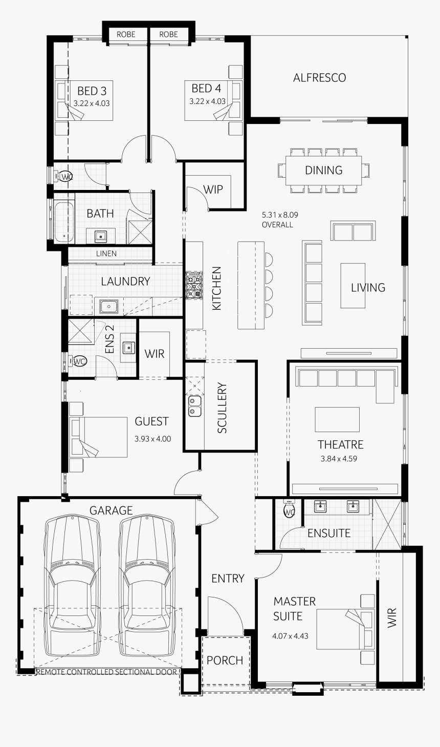3 Bedroom House Plans With A Man Cave, HD Png Download - kindpng