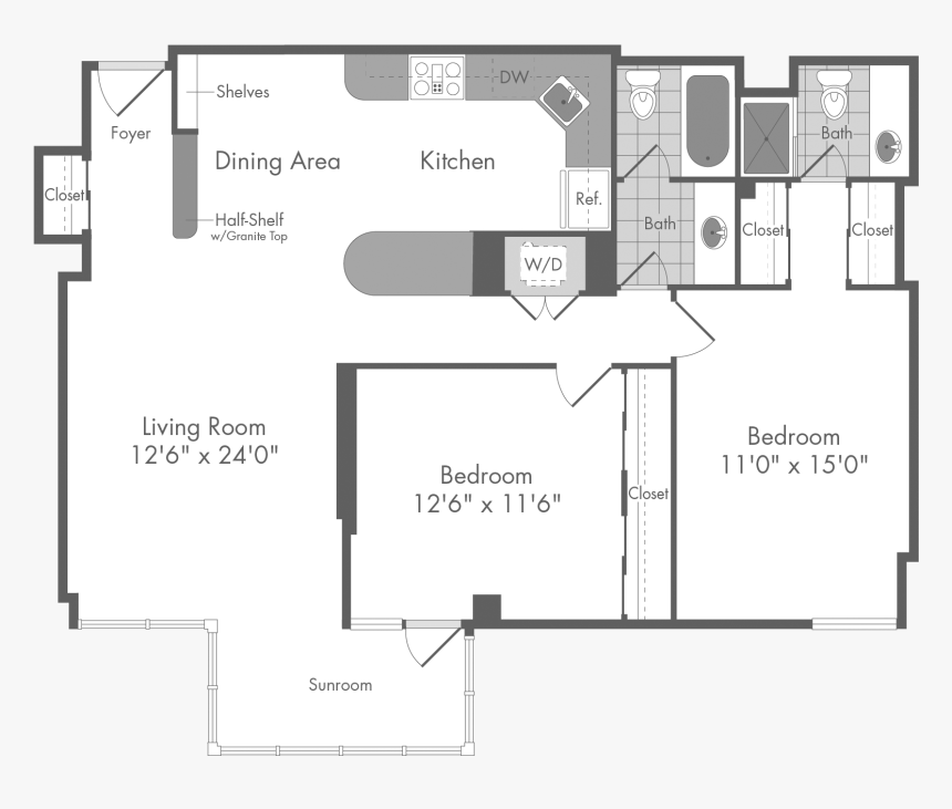 The Cordell 2 Bedroom Apartment Floor Plan At The Monterey Floor Plan Hd Png Download Kindpng