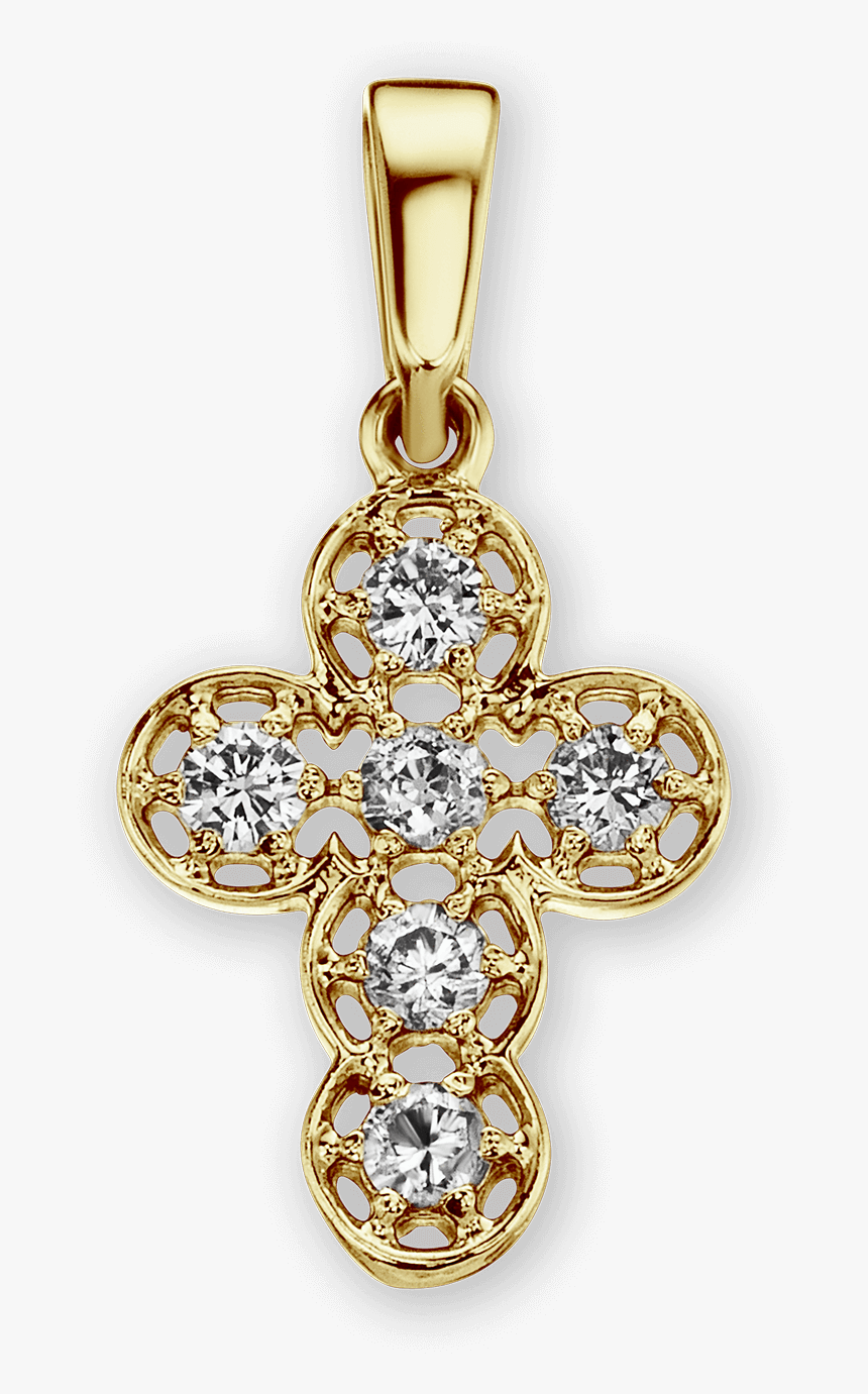 14k Gold Filigree Cross Pendant With Diamonds, HD Png Download, Free Download