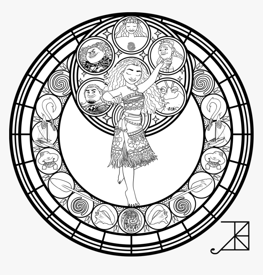 Moana Font Lineart - Disney Stained Glass Coloring Pages, HD ...