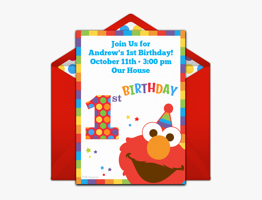 Elmo 1st Birthday Invitations Template Hd Png Download Kindpng