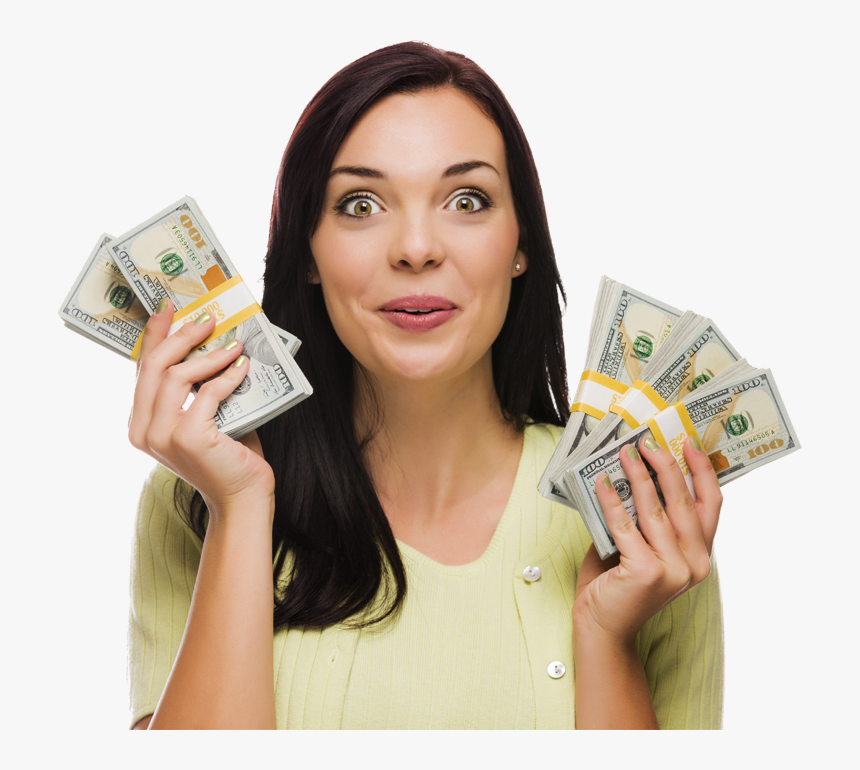 Get Cash In Hand With A Personal Loan, Signature Loan - Woman Holding Cash Transparent, HD Png Download, Free Download