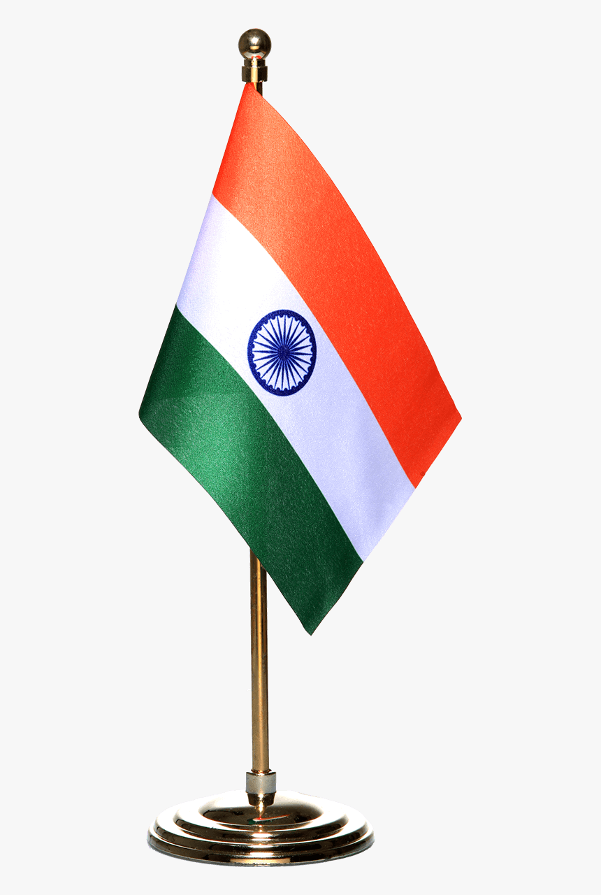 Indian Miniature Table Flag With A Gold-plated Plastic - Flag Of India, HD Png Download, Free Download