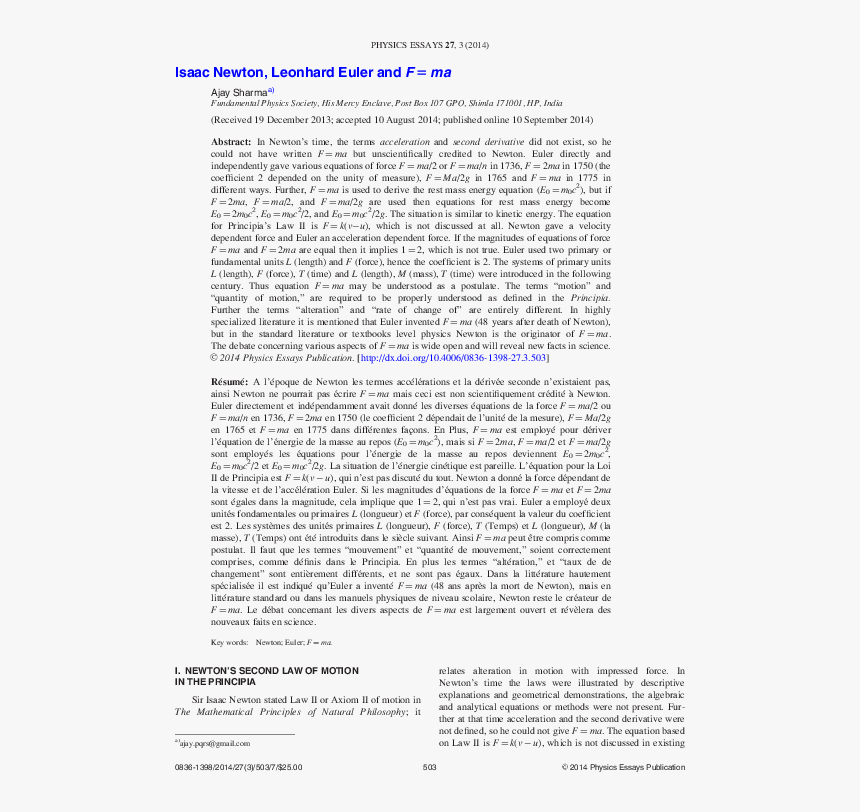 Essay On Newton's Laws Of Motion, HD Png Download, Free Download