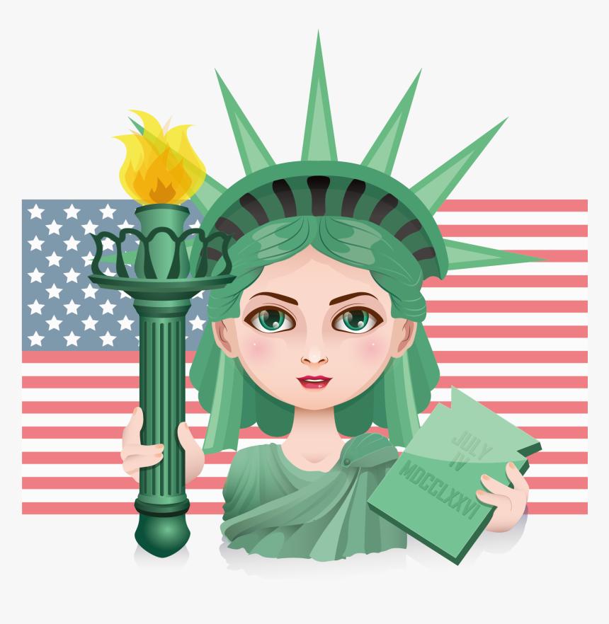 Statue Of Liberty Illustration American Goddess Ⓒ - Dibujos De La Estatua De La Libertad, HD Png Download, Free Download